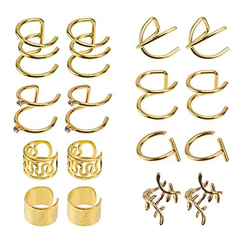 Happyyami 8 Pares de Pendientes de Gancho de Orugas Pendientes de Brazalete de Oreja para Mujeres No Perforados de Las Orejas de Escalador Piercing Cartílago Clip en Pendientes