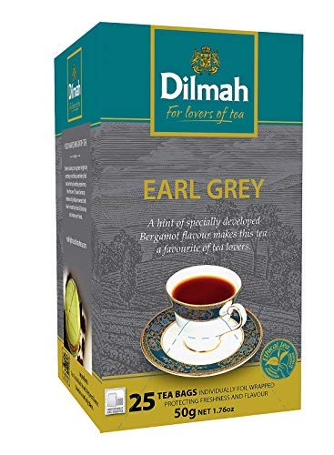 Dilmah Tea Black Single Origin Earl Grey Bergamota - 1 x 25 bolsas de te (50 gramos)