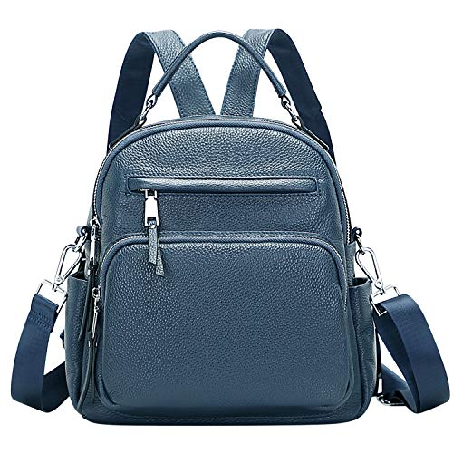 ALTOSY Genuine Leather Backpack for Women Small Convertible Backpack Purse Ladies Shoulder Bag 4 in 1 to Carry (S71 Indigo Blue )