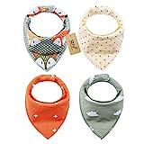 iZiv 4er Set Baby Bandana Geifer Lätzchen mit Justierbarem Druckknöpfen, Wasserdichte Baumwolle Auskleidung für 0-2 Jahre (Farbe-4)