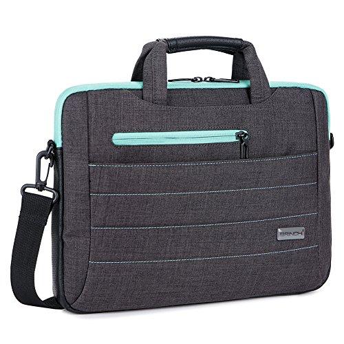BRINCH 15-15.6 Inch Multi-functional Suit Fabric Portable Laptop Sleeve Case Shoulder Messenger Bag Briefcase for Laptop, Tablet, Macbook, Notebook - (Black - Green)
