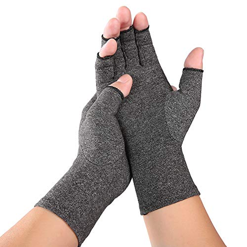 HaHawaii 1 Pair Compression Wrist Support Joint Pain Relief Hand Brace Arthritis Gloves-Best Copper Glove for Carpal Tunnel, Computer Typing, and Everyday Support for Hands Grey S