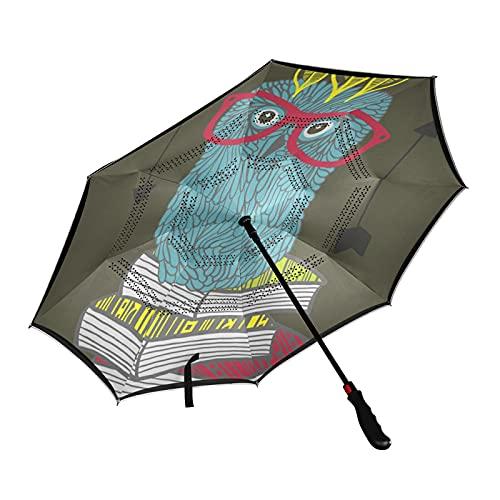 ISAOA - Paraguas de golf con diseño de búho indio en los libros y con funda de transporte