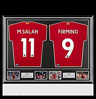 799966ae0 Mohamed Salah   Roberto Firmino Autographed Liverpool Shirts Classic Dual  Frame