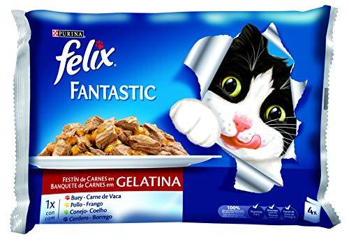 Felix - Fantastic Festín de Carnes en Gelatina Pack surtido sobres 4 x 100 g - 400 g