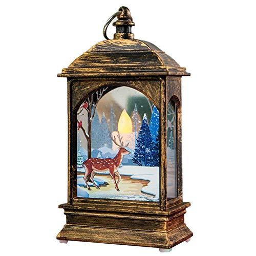Quyi Beleuchtete Weihnachts-Schneekugel-Laterne, Weihnachtsdekoration, leuchtendes Nachtlicht, Bronze, Elch