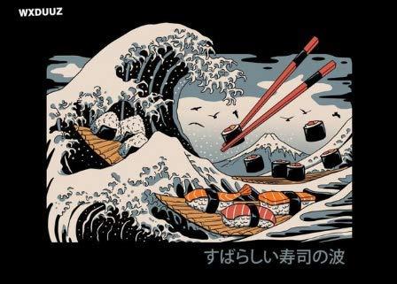 qiaolezi Retro Tradicional japonés Ramen Ondulado Kanagawa Mural Imagen para Sala de Estar decoración del hogar Carteles Lienzo Pintura A433 50 × 70 CM sin Marco
