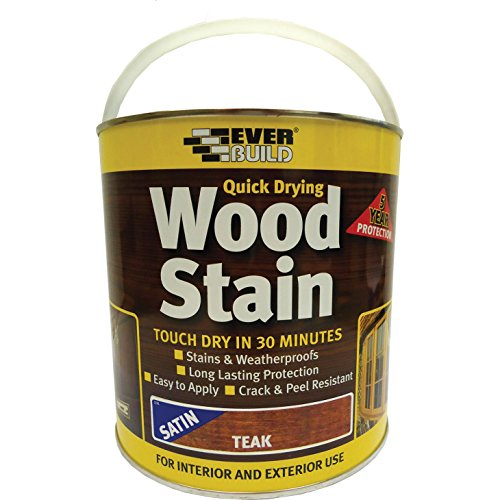 Everbuild Quick Drying Professional Solvent Free Satin Finish Wood Stain,...