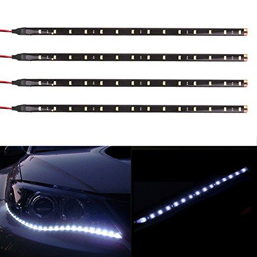 TABEN 12V Voiture Moto 30cm LED Bande de lumière Flexible étanche Blanc 1210-15SMD (Pack de 4)