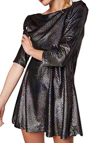 Free People Womens Diamonds are Forever Metallic Textured Mini Dress Silver M