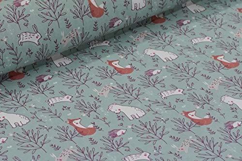 Tissu animaux de la forêt Menthe – Renard, lapin, ours, hérisson – Certifié Ökotex 150 x 50