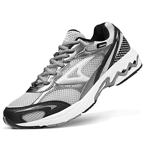 Zapatillas de Running Hombre Calzados para Correr en Asfalto Deporte Sport Casual Sneakers Gris 40 EU