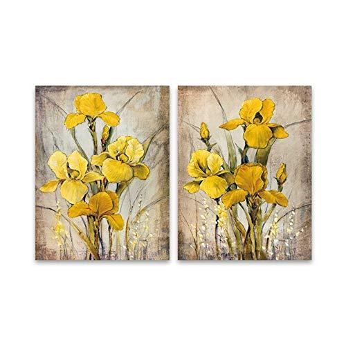 HYFBH Leinwand Wandkunst Drucke Blumen Wandgemälde Vintage Leinwanddruck Orchidee Gemälde Wandbilder für Wohnzimmer Wohnkultur 60x80cm (23,6x31,5 Zoll) x2 Kein Rahmen