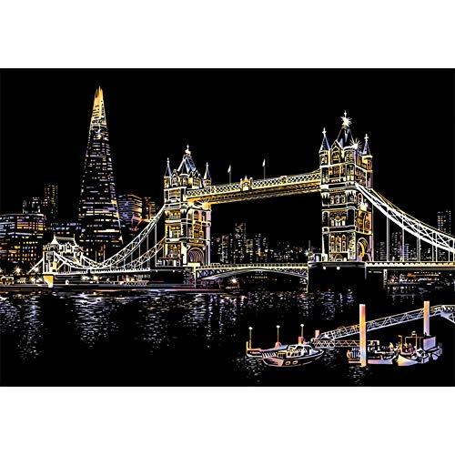 MZZ Mzziliy Kratzbilder 400 x 285 MM Weltberühmte Sehenswürdigkeiten Wandbild DIY Kunst Zeichnung City Night View Schwarz Beschichtet Bunte Kratzpapier mit Werkzeug Set