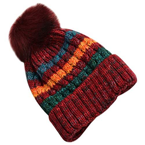 Huilongxin BUPCie del Casquillo del Sombrero de Punto de Las Mujeres con la Bola de Pelo de la Muchacha Caliente de Invierno Bola de Pelo BUPCie la Cabeza del Sombrero de Accesorios, Vino Tinto