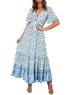 R.Vivimos Womens Summer Cotton Short Sleeve V Neck Floral Print Casual Bohemian Midi Dresses