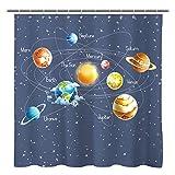 Sunlit Solar System Planets Stars and Milky Way Galaxy Space Fabric Astronomical Shower Curtain with The Sun Mercury Venus Earth Mars Jupiter Saturn Uranus Neptune Cosmos Nebula Gray Pale Blue