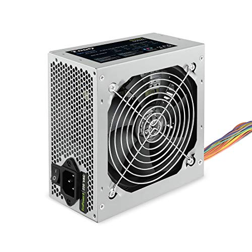 Tooq TQEP-500SSE - Fuente de Alimentacion Ecopower II de 500W con PFC Activo, Ventilador silencioso de 120mm con Control automatico de Velocidad, (ATX 12V V1.3, CE/RoHS, Color Plata) (Ordenadores personales)