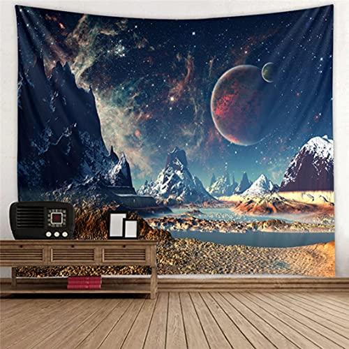 Danjiao Naturaleza Luna Tapiz Montaña Galaxia Cielo Estrellado Tapiz Colgante De Pared Psicodélico Paisaje Tapices Pared Techo Decoración del Hogar Sala De Estar Decor 150x130cm