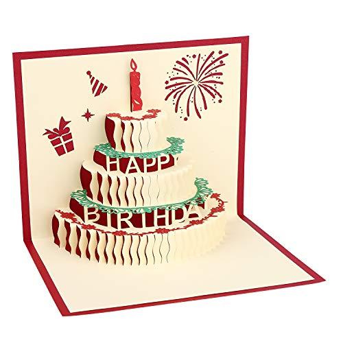 Vegena 3D Pop-Up-Grußkarten, Geburtstagskarte 3D Glückwunschkarte Geburtstag Pop Up Karte, 3D Geburtstagskarten für Frauen Mütter Ehefrau Freundin Liebhabers inkl. Umschlag enthalten