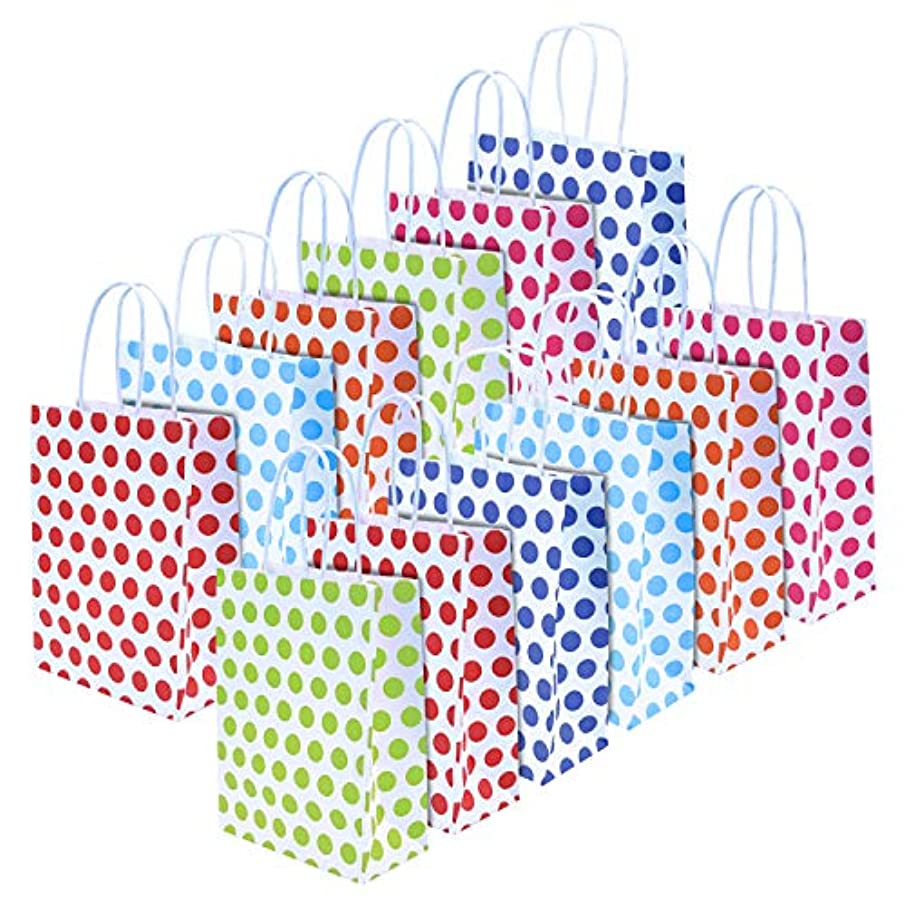 Livder 12 Pieces Party Present Paper Gift Bags for Birthday Wedding Parties (Dots Pattern)