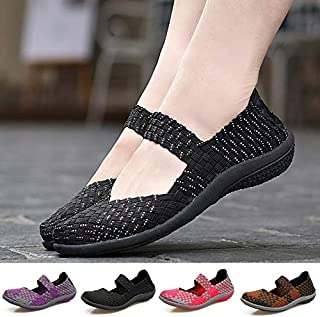 Fashion Women Casual Sport Shoes Summer Sandals Breathable Flats Slip on Shoes(Black & White,5)