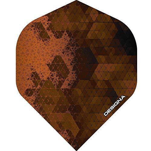 Unbekannt Designa Rock Dart-Flights – extra stark – 100 Mikron – Standardform – 1 Set (3), Orange