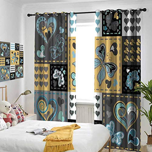 Vintage Dark Textured Vintage Ornament with Heart and Butterfly Motif in Mix Retro Design Grey Gold Bedroom blackout curtains Three-layer braided noise reduction ring top shade curtain W84 x L108 Inc