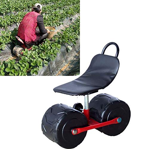 Yrainy Garden Scoot with Swivel Seat, Work for Garden, Household & Workshop - Garden Trolley with Air Chamber Seat, Garden Cart W/Rolling Seat