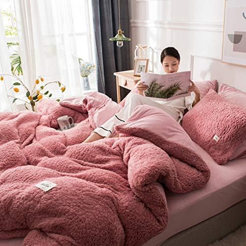QINYA Teddy Bear Fleece Duvet Cover Set 4Pcs Super Soft Warm and Cosy Bedding Set Including Pillowcases Thermal Warm Cosy Super Soft - Double (Dark pink,150 * 200cm 3 PCS)