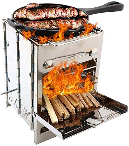 YUHT Holzkohlegrill,Picknickgrill Outdoor BBQ Grill Herd Edelstahl Camping Grill Tragbaren Mini-Holz Leichtes Kochen Folding Backpacking Picknick