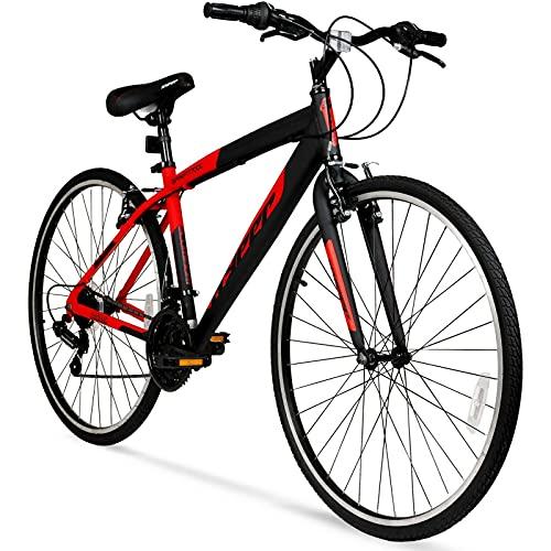 Hyper 700c Men's SpinFit Hybrid Bike, Black/Red Fast
