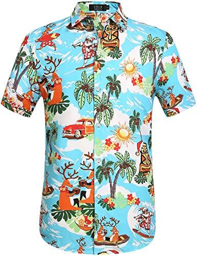 SSLR Men's Santa Claus Party Tropical Ugly Hawaiian Christmas Shirts (Small, Bright Blue)
