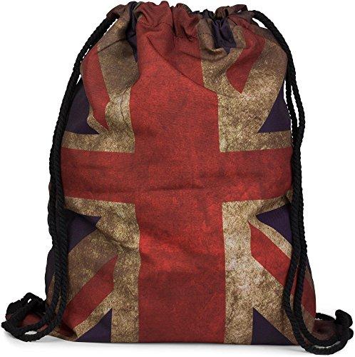 styleBREAKER Turnbeutel Rucksack im Union Jack Vintage Design, Sportbeutel, Unisex 02012084, Farbe:Rot-Weiß-(Beige)-Blau