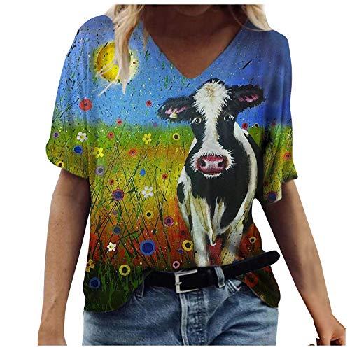 Camiseta 3D Graphic para mujer, divertida, suelta, de verano, elegante, manga corta, cuello en V, túnica, Amarillo A., XXL