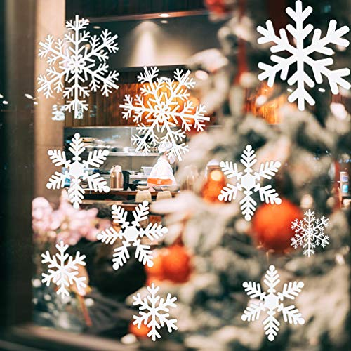 """Schneeflocken Deko Sticker (108 Stk.) - Schneeflocken Winter Fensterdeko Aufkleber weiss für Weihnachts Dekoration Fensterbilder, Lichterdeko """"Frozen"""" Wonderland, Wand-Dekoration, Ornamente"""