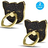Cellphone Ring Holder Finger Kickstand (2 Pack) - ifab 360° Rotation/Sturdy/Reusable/Grip/Stand/ Universal - Compatible with All Smartphones - Cat Black