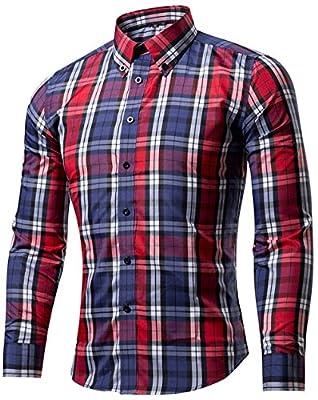 AKENA Men's Casual Long Sleeve Plaid Slim Fit Button Down Collar Dress Shirts Regular Fit Business Shirt
