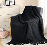 Thick Chunky Black Knit Throw Blanket for Couch Chair Sofa Bed, Chic Boho Style Textured Basket Weave Pattern Blanket with Decorative Fringe, 50'x60'