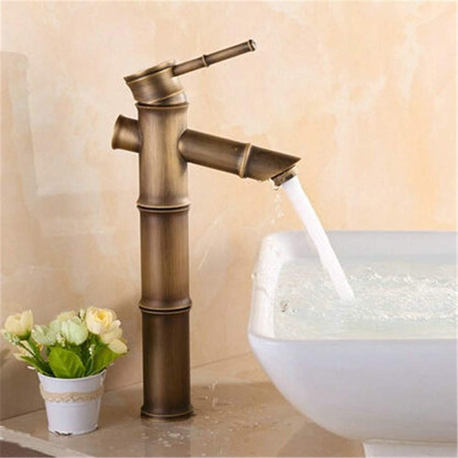 YAWEDA High Bamboo Bathroom Basin Faucets Brass Mixer Tap Antique Faucet Single Handle Hot and Cold Water Mixer Bathroom Sink Faucet