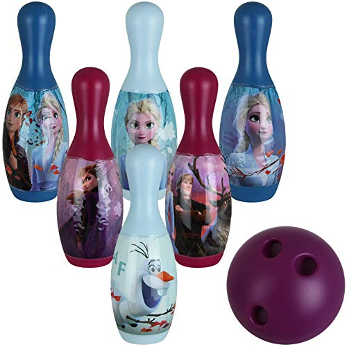 TW24 Bowling Set Kinder mit Motivwahl Frozen Toy Story Kinderbowling 6 Kegel eine Kugel Bowlingspiel Kegelset (Frozen)