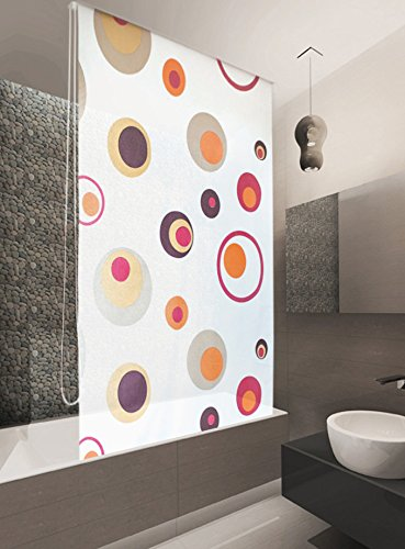 BASIC DUSCHROLLO 140x240 CM MODELL COLORFUL DUSCHVORHANG WEISS BRAUN ROT ORANGE - SONDERMAß - SHOWER ROLLO CURTAIN!