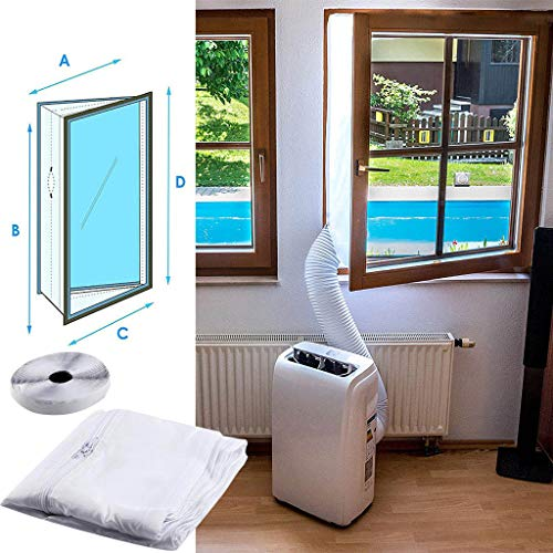 N/Z Window Seal for Portable Air Conditioner and Tumble Dryer, Zippered Seal with Adhesive Fastener Easy to Install, Best Way to Seal Casement Window, 400 cm and 300 cm