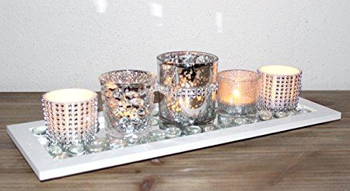Dekotablett Windlicht Teelichthalter Glas Silber Kerzentablett modern Edel (A, G)
