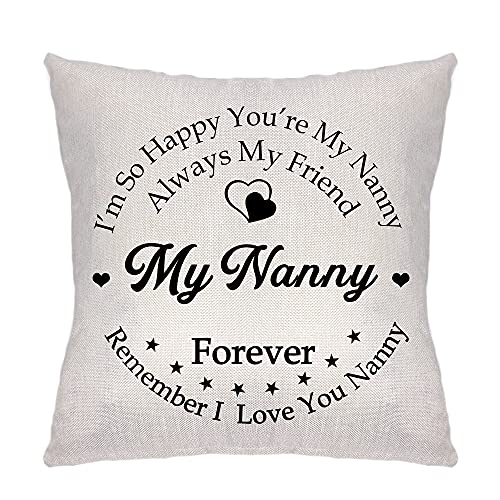 Sevitsil I'm So Happy You're My Nanny Gifts Pillow Cover Decorative Cushion Cover Linen Sofa Pillow Case Pillowcase Always My Friend My Nanny