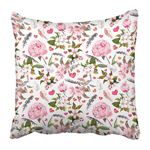 Moily Fayshow Throw Cushion Cover Pink Color Peony Flowers Feathers Hearts Floral Pattern For Valentine Day Wedding Watercolor Water 40X40 Cm