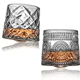 Tilting Crystal Whiskey Glasses 10.8 oz Set of 2, Big Size Rotatable Drinking Bourbon Glasses, Stress relief Tumbler For Scotch , Cocktails, Coffee , Perfect Father's Day Gift For Men Dad