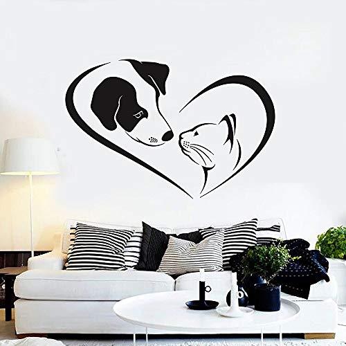 Calcomanía de pared para perros y gatos, amigos que cuidan animales, tienda de mascotas, guardería veterinaria, decoración de la casa, puerta, ventana, pegatina de vinilo, Mural artístico