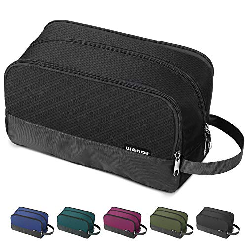 Toiletry Bag Small Nylon Dopp Kit Lightweight Shaving Bag for Men and Women (Black)