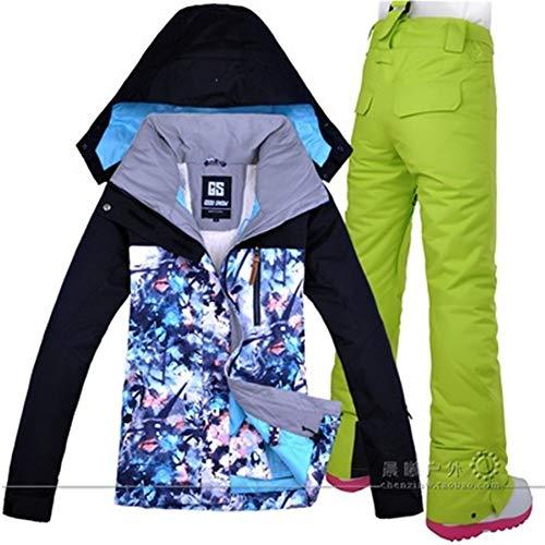 Xzwzhqxs Skipak, warm, voor vrouwen in de openlucht, ski-jack, winddicht, waterdicht, broek met capuchon, sport in de open lucht
